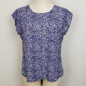 Violet & Claire Navy white hi low blouse size med